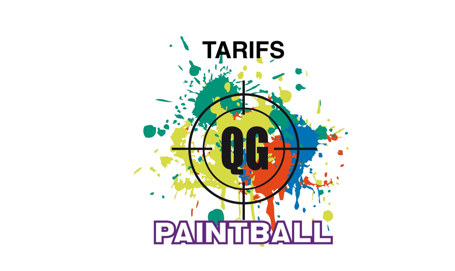 Cible QG sur taches multicolores de paintball
